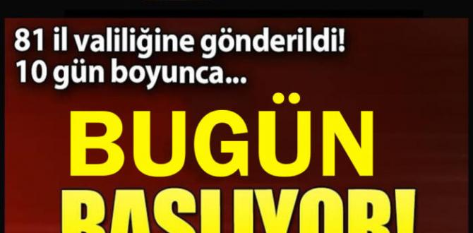 Bugün tüm Türkiye'de Gerçekleştirilecek